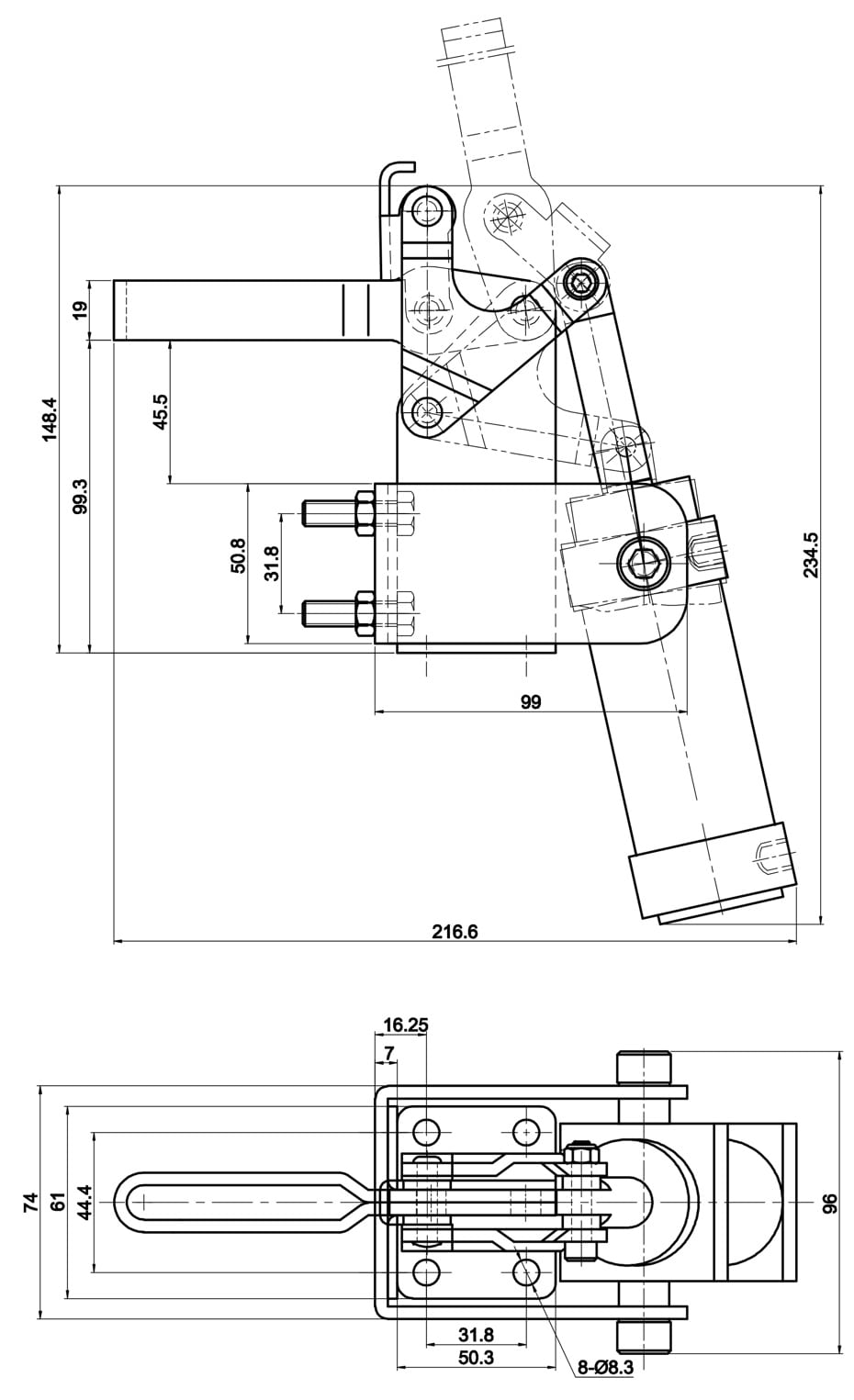 DST-20830-A Drawing/Dimension table DST-20830-A Pneumatic toggle clamp, vertical 3400N